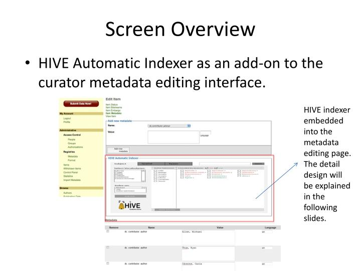 Screen overview