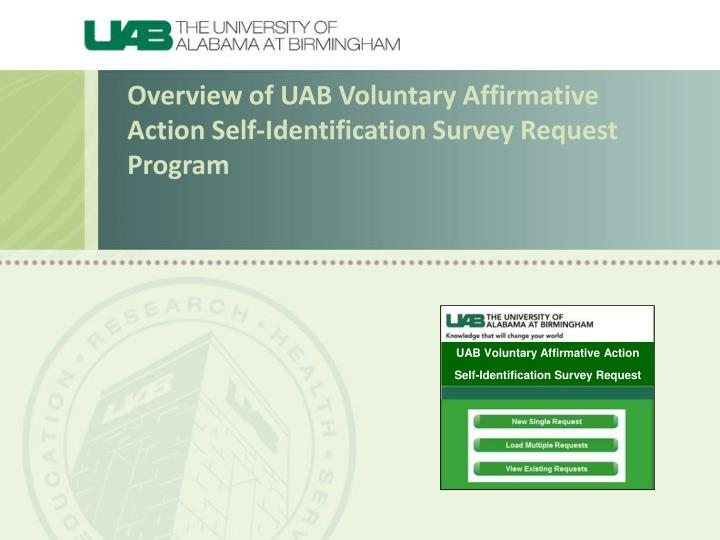 overview of uab voluntary affirmative action self identification survey request program n.