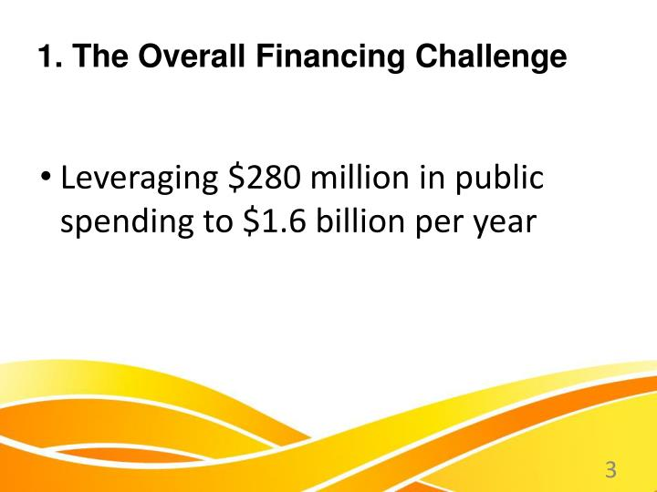 1 the overall financing challenge