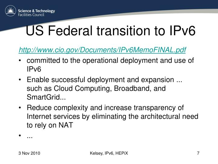 US Federal transition to IPv6