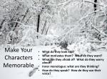 make your characters memorable