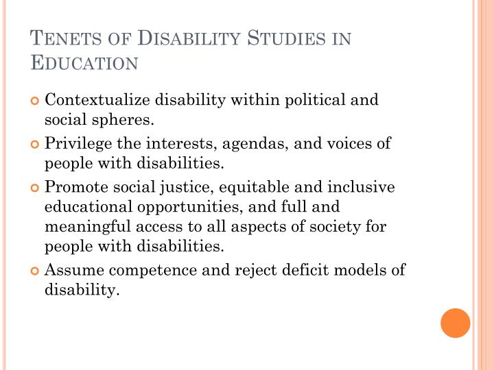 Tenets of disability studies in education