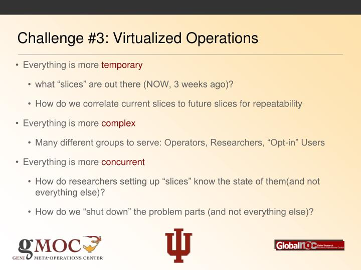 Challenge #3: Virtualized Operations