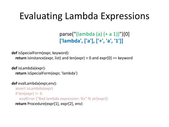 Evaluating Lambda Expressions