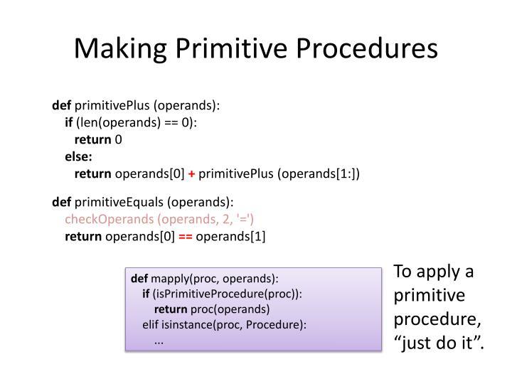 Making Primitive Procedures