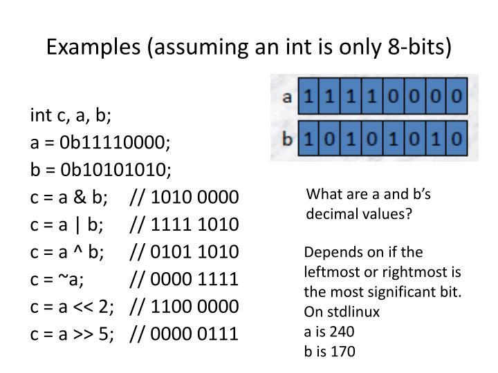 Examples (assuming an