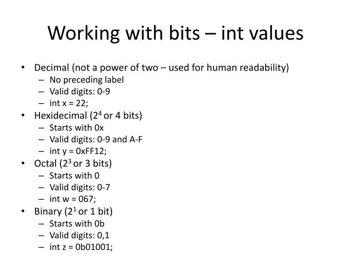 Working with bits int values
