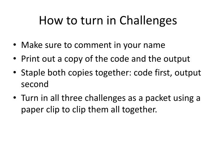 How to turn in Challenges