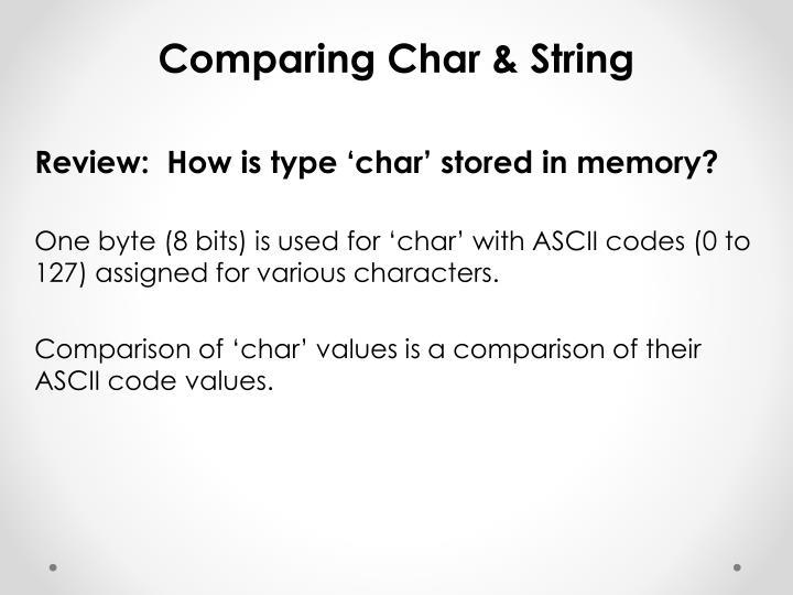 Comparing Char & String