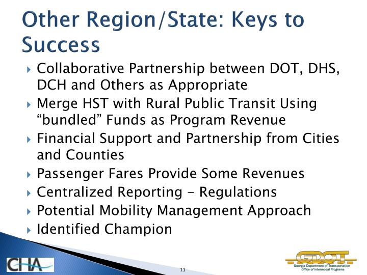 Other Region/State: Keys to Success