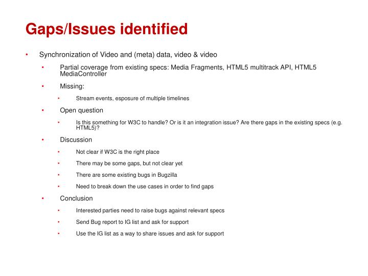 Gaps issues identified
