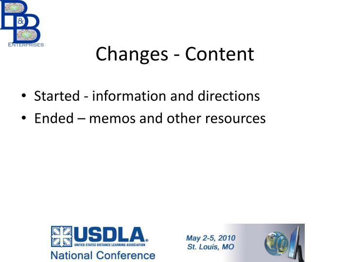 Changes - Content