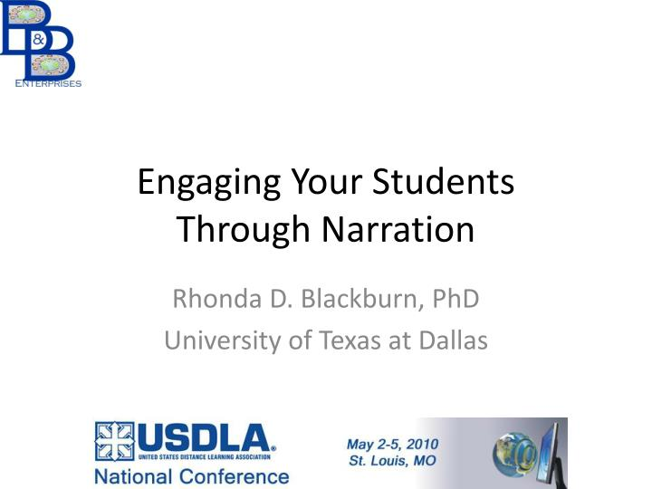 Engaging your students through narration