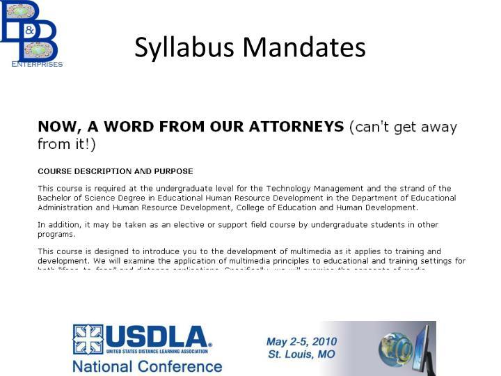 Syllabus Mandates