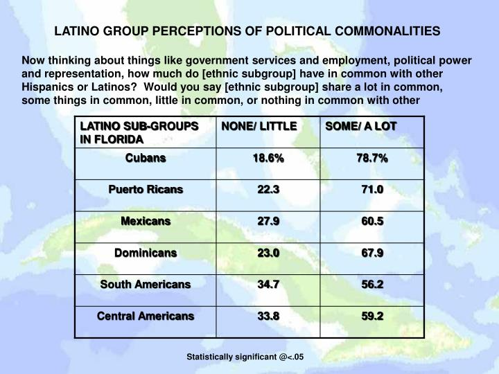 LATINO GROUP PERCEPTIONS OF POLITICAL COMMONALITIES