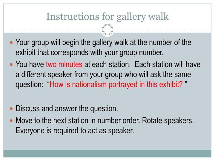 Instructions for gallery walk