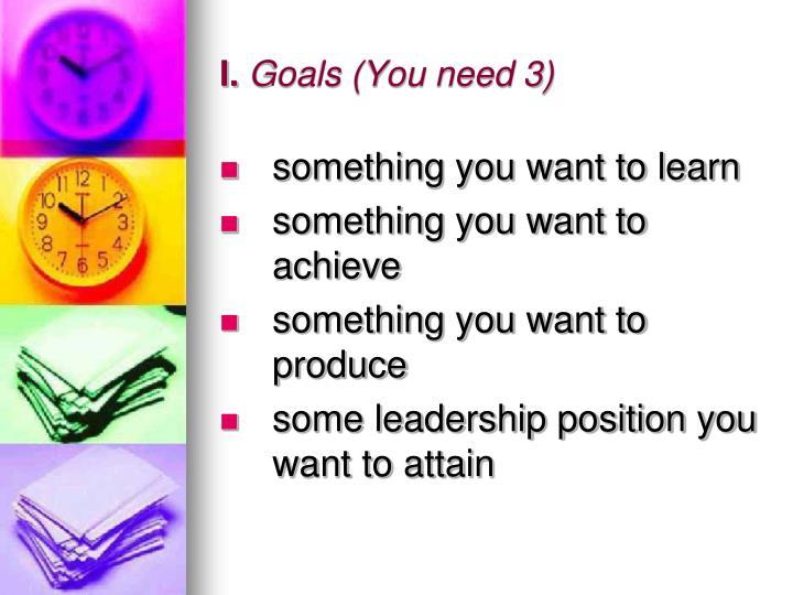 I goals you need 3