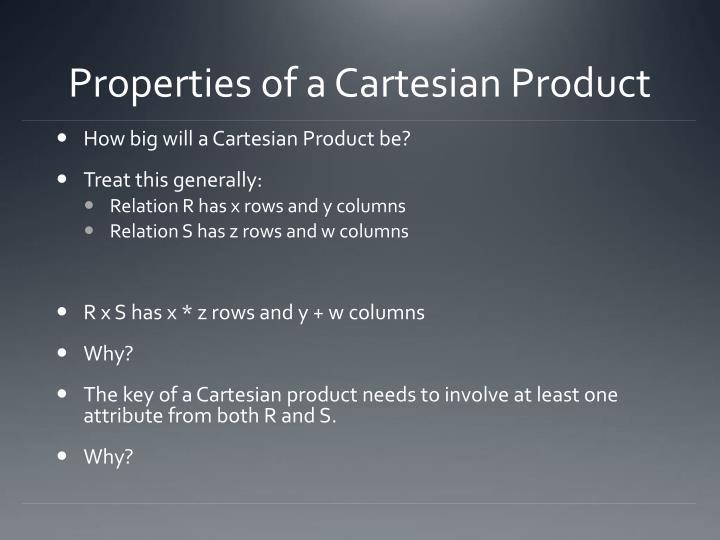 Properties of a Cartesian Product