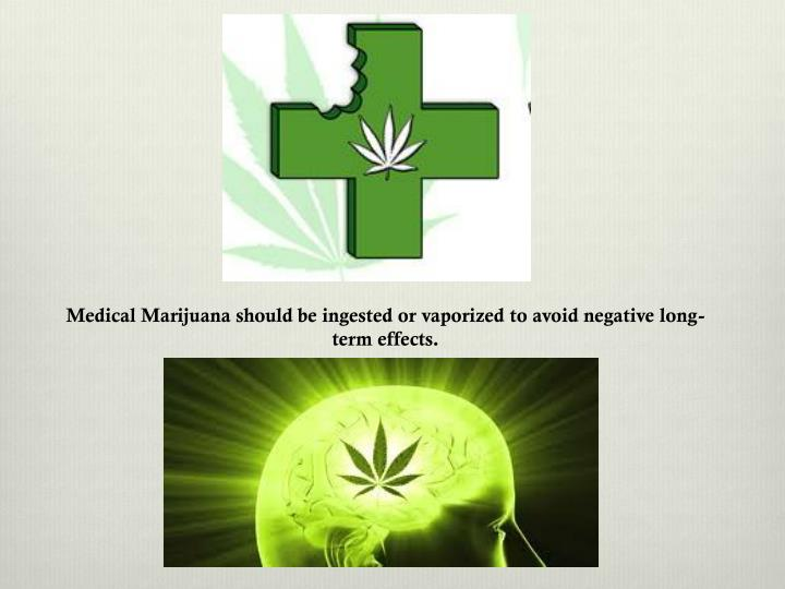 Medical Marijuana should be ingested or vaporized to avoid negative long-term effects.