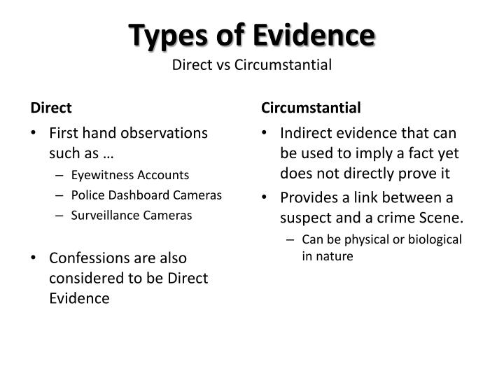 Types of evidence direct vs circumstantial