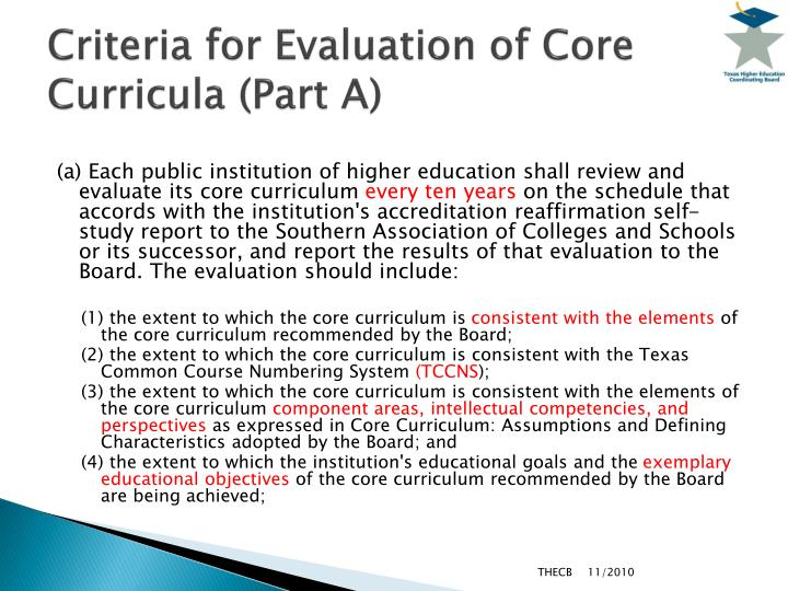 Criteria for Evaluation of Core Curricula (Part A)