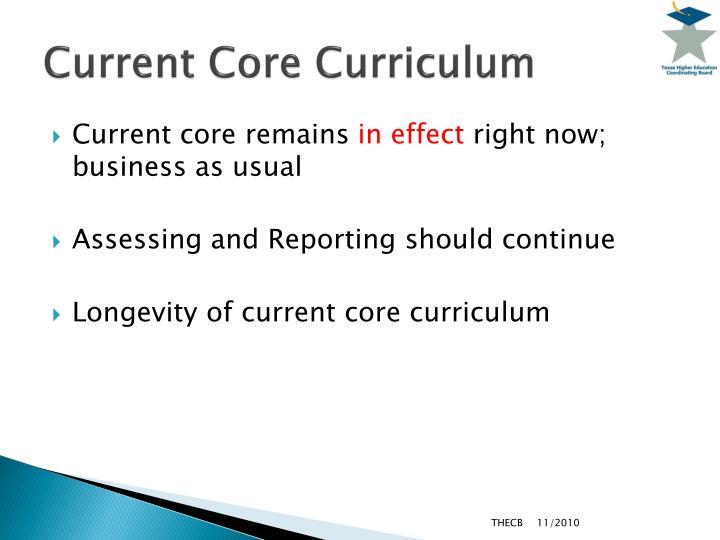 Current Core Curriculum