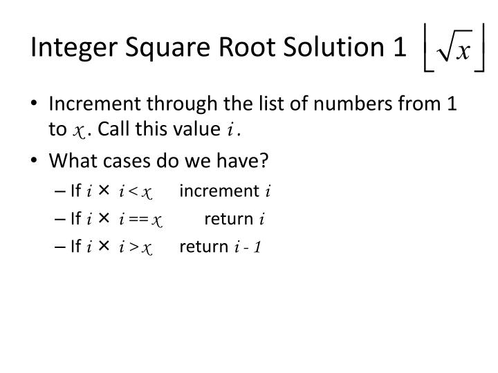 Integer Square Root Solution 1