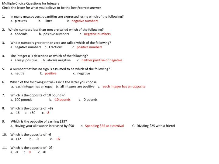 Multiple Choice Questions for Integers