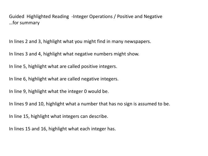 Guided  Highlighted Reading  -Integer Operations / Positive and Negative