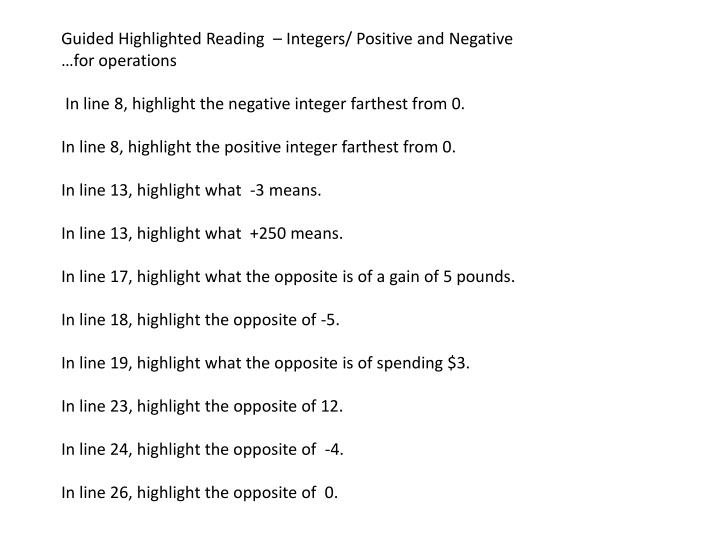 Guided Highlighted Reading  – Integers/ Positive and Negative