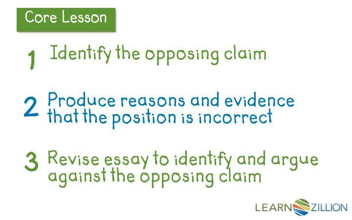 Identify the opposing claim