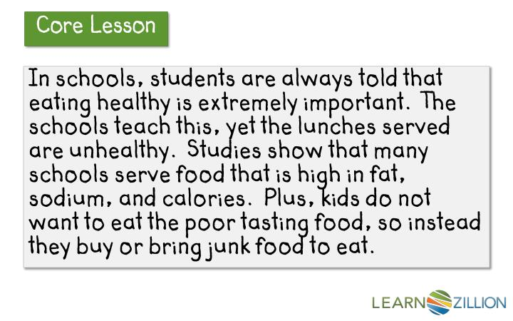 In schools, students are always told that eating healthy is extremely important.  The schools teach this, yet the lunches served are unhealthy.  Studies show that many schools serve food that is high