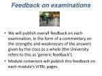 feedback on examinations