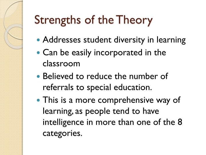 Strengths of the Theory