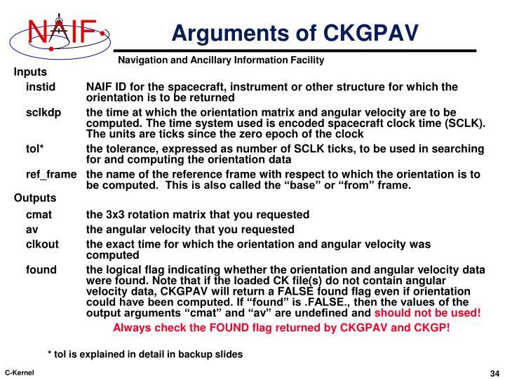 Arguments of CKGPAV