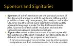 sponsors and signitories
