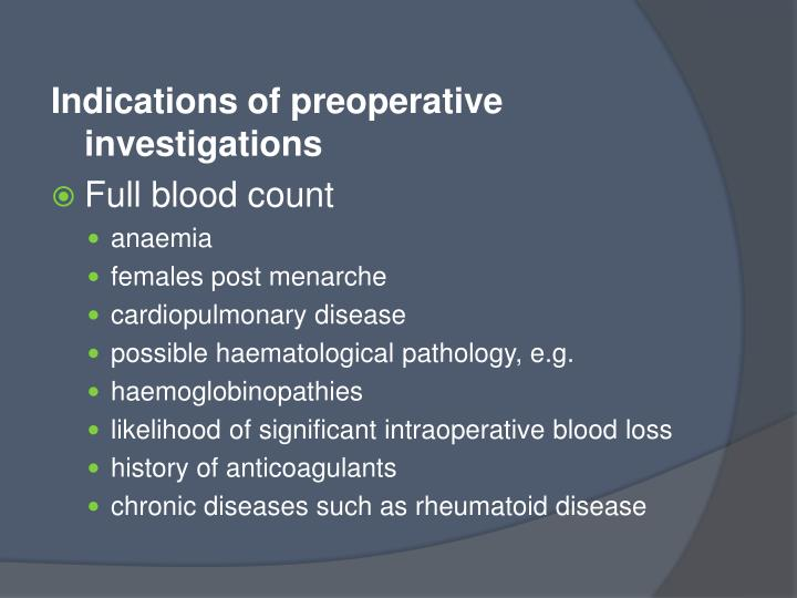 Indications of preoperative investigations