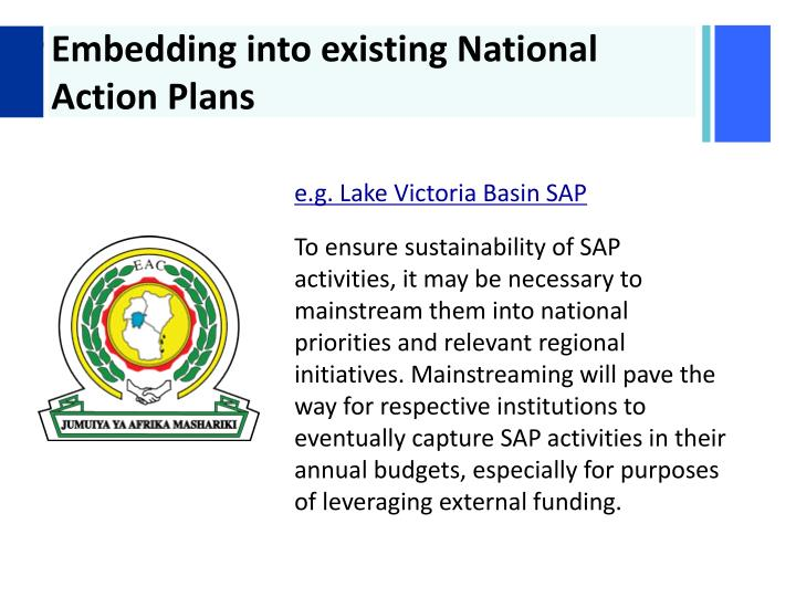 Embedding into existing National Action Plans