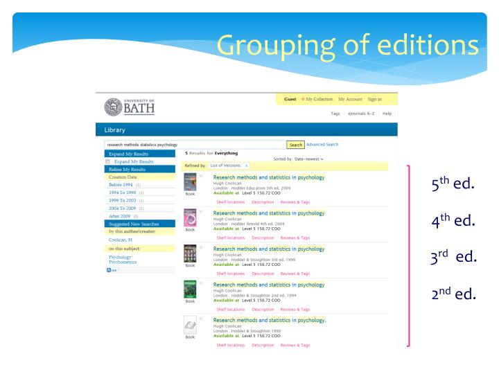 Grouping of editions