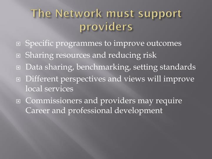 The Network must support providers
