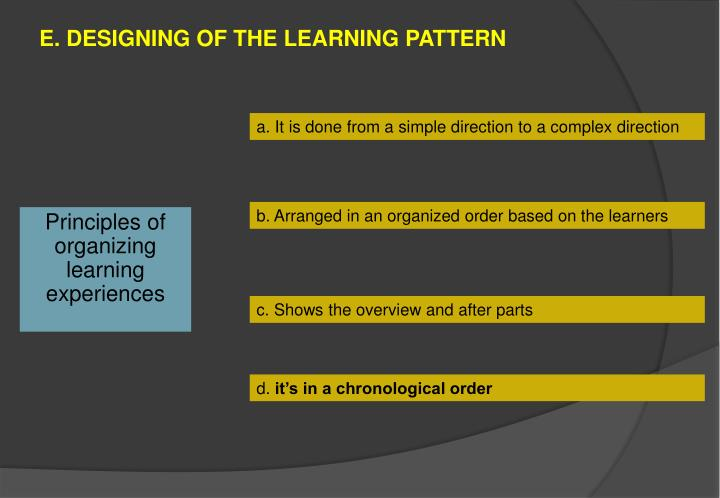 E designing of the learning pattern