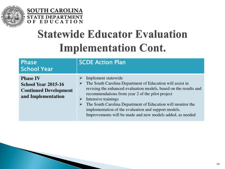 Statewide Educator Evaluation Implementation Cont.