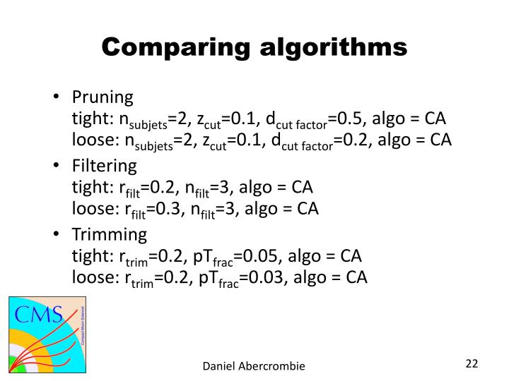 Comparing algorithms