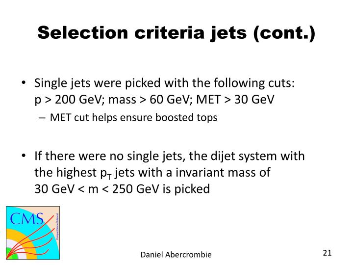 Selection criteria jets (cont.)