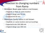 reaction to changing numbers from rama