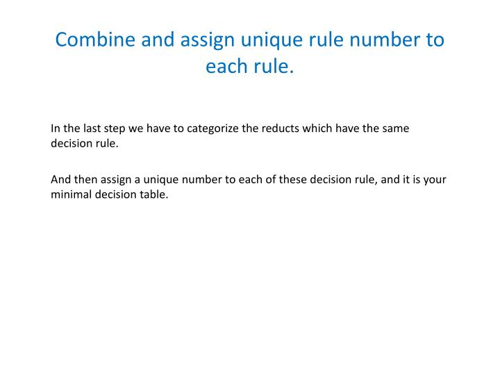 Combine and assign unique rule number to each rule.