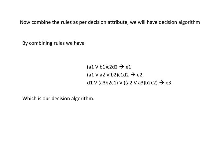 Now combine the rules as per decision attribute, we will have decision algorithm
