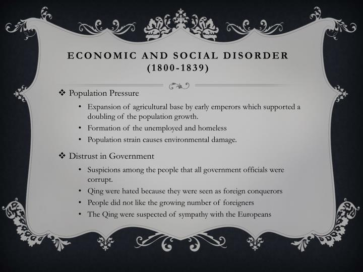 Economic and social disorder 1800 1839