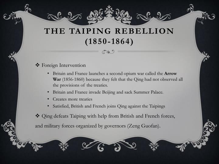 The Taiping rebellion (1850-1864)