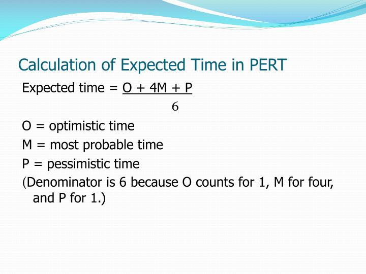 Calculation of Expected Time in PERT